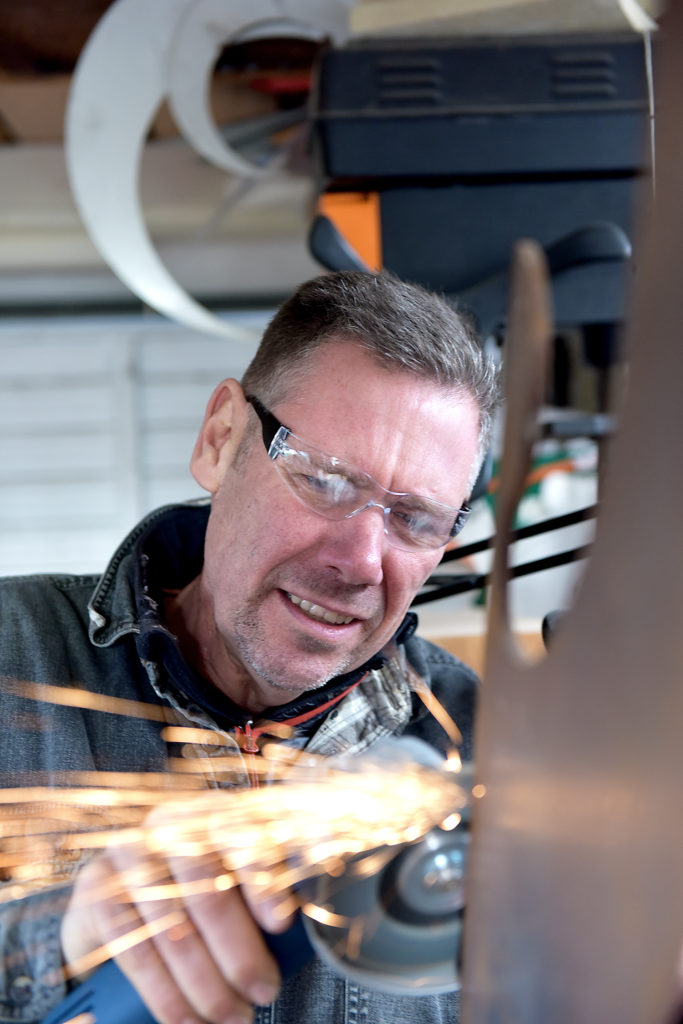Pete Moorhouse Sculptor Angle grinding